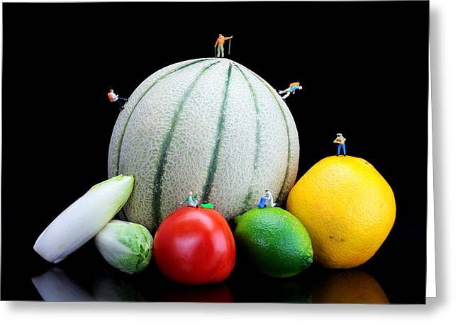 Little People Hiking On Fruits Greeting Card by Paul Ge