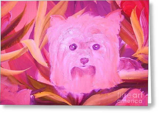Little Pink Yorkie Greeting Card by Rachel Carmichael