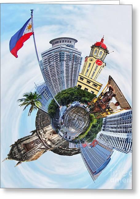 Little Planet - Manila Greeting Card by Yhun Suarez