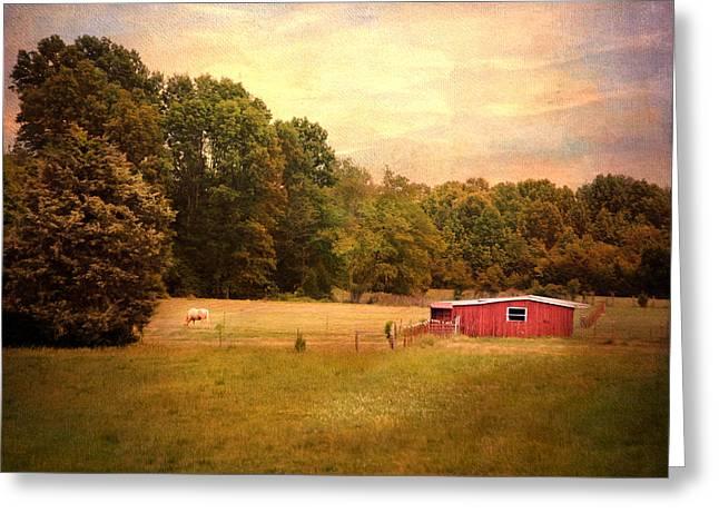 Little Red Barn Greeting Card by Jai Johnson