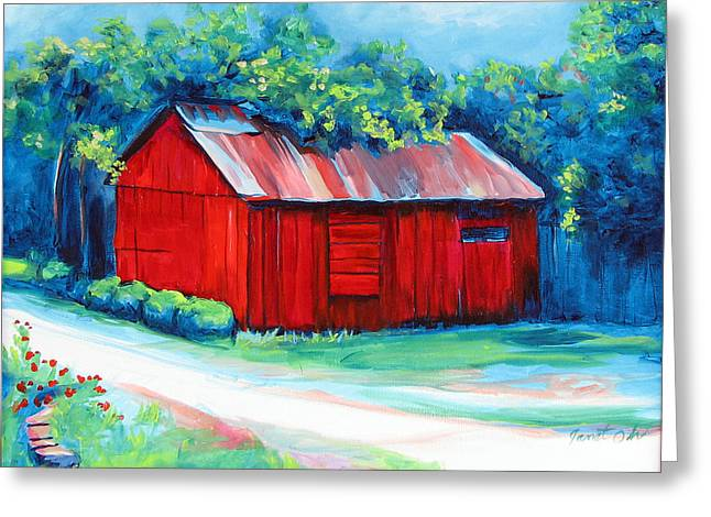Little Red Barn Greeting Card by Janet Oh