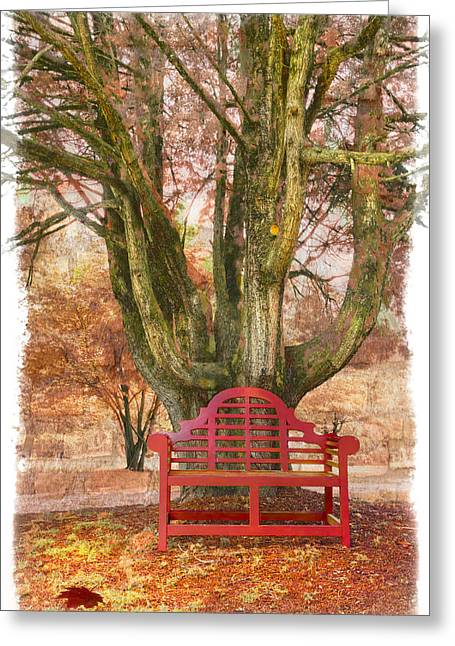 Little Red Bench Greeting Card by Debra and Dave Vanderlaan