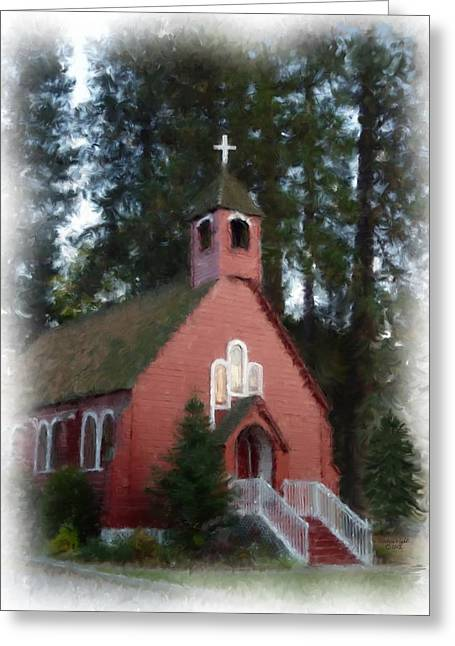 Little Red Church Painting Greeting Card by Cindy Wright