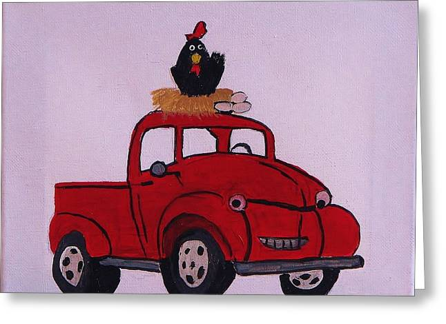 Little Red Coop Greeting Card by Linda Brown