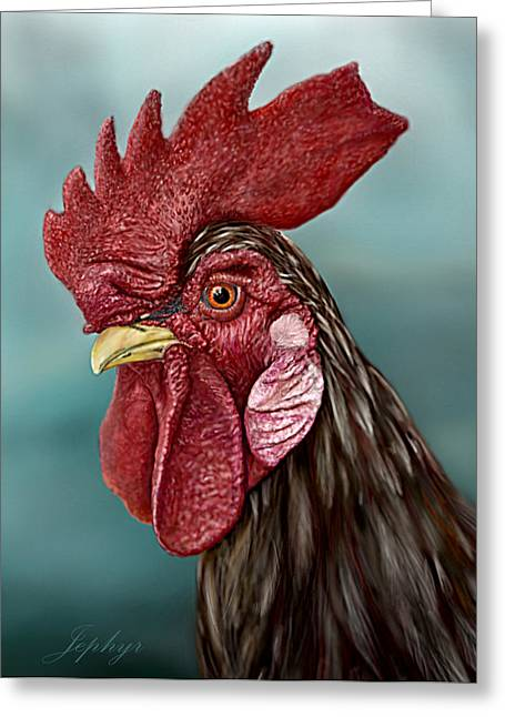 Little Red Rooster Greeting Card by Jephyr Art