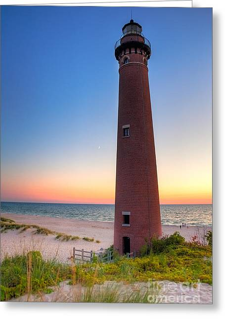Greeting Card featuring the photograph Little Sable Point Light Station by Larry Carr