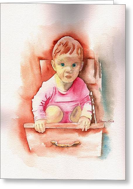 Little Sharon Playing In Kitchen Greeting Card by Sharon Mick