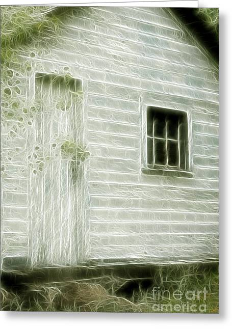 Little White Building Onaping Greeting Card by Marjorie Imbeau
