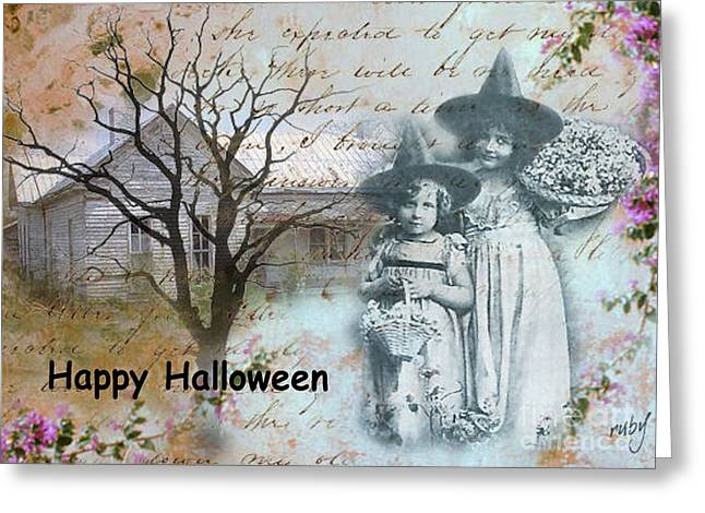 Little Witches Blue Greeting Card