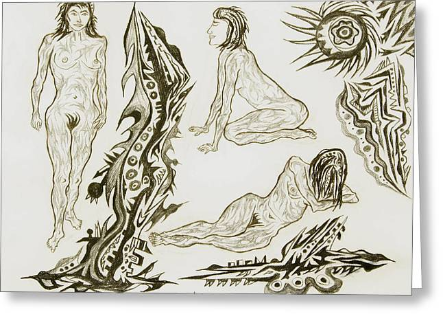 Live Nude 17 Female Greeting Card by Robert SORENSEN