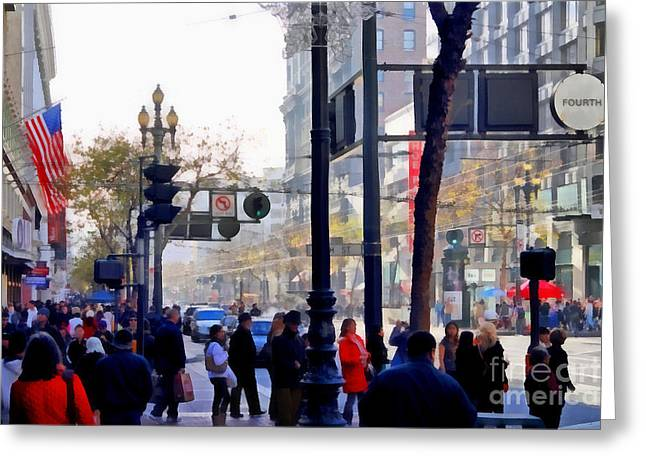 Lively Market Street In San Francisco . 7d4268 Greeting Card by Wingsdomain Art and Photography