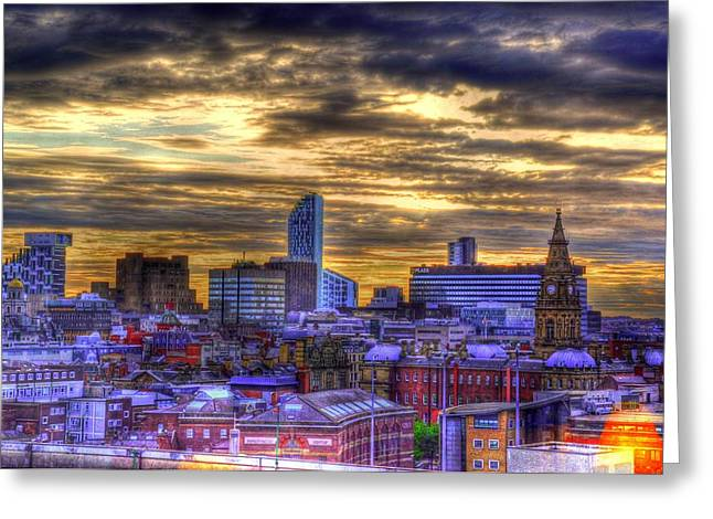 Liverpool At Nite Greeting Card by Barry R Jones Jr
