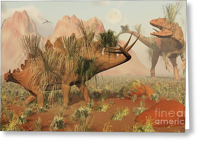 Living Fossils Of A Stegosaurus And An Greeting Card