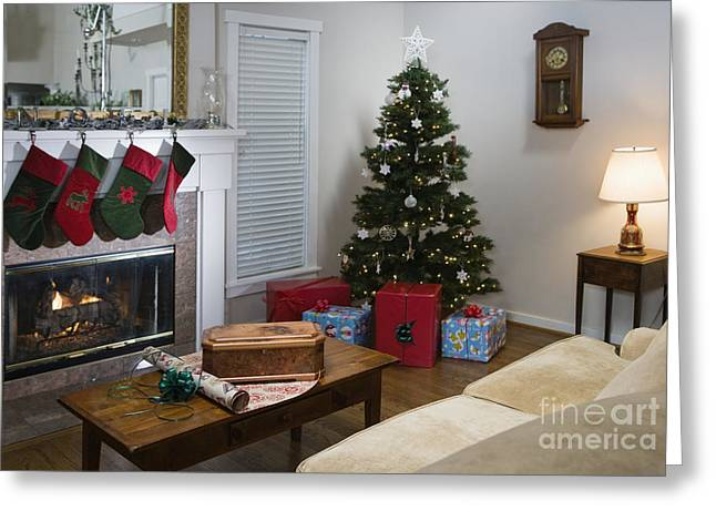 Living Room At Christmas Greeting Card by Andersen Ross