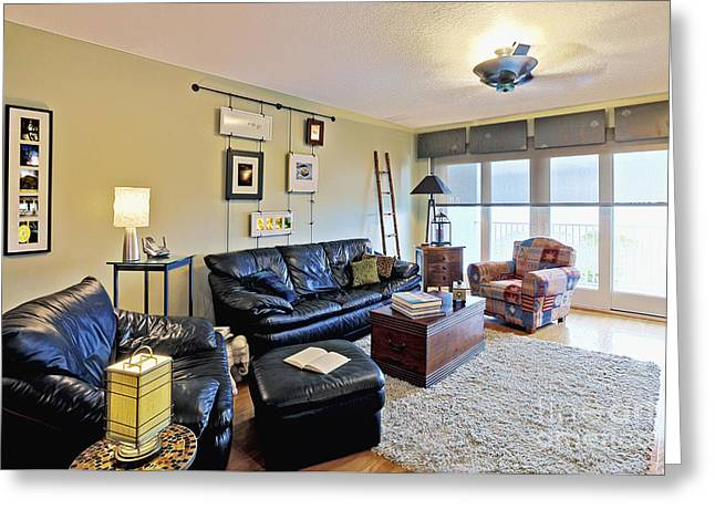 Living Room Interior Greeting Card by Skip Nall