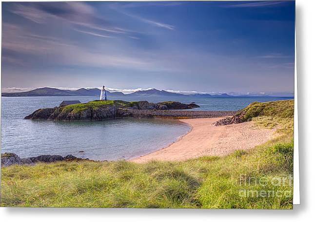 Llanddwyn Beacon Greeting Card by Adrian Evans