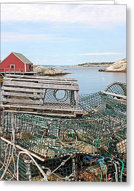 Lobster Pots Greeting Card by Kristin Elmquist
