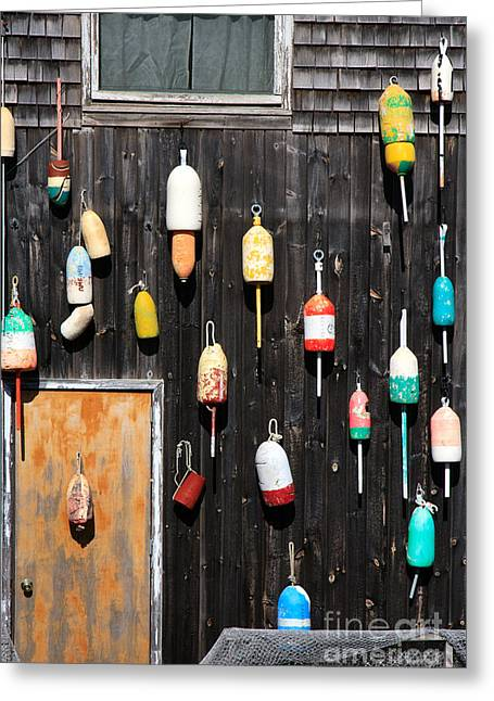 Greeting Card featuring the photograph Lobster Shack With Brightly Colored Buoys by Karen Lee Ensley