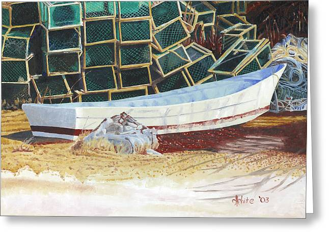 Lobster Traps And Dory Greeting Card