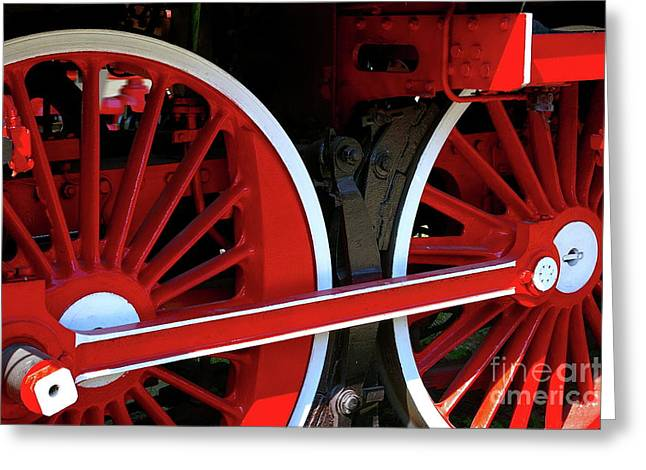 Greeting Card featuring the photograph Locomotive Wheels by Dariusz Gudowicz