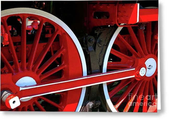 Locomotive Wheels Greeting Card by Dariusz Gudowicz