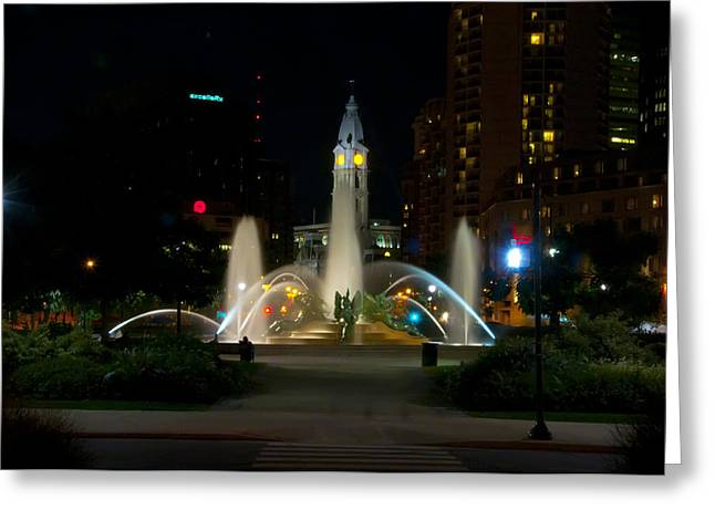 Logan Circle Fountain With City Hall At Night Greeting Card