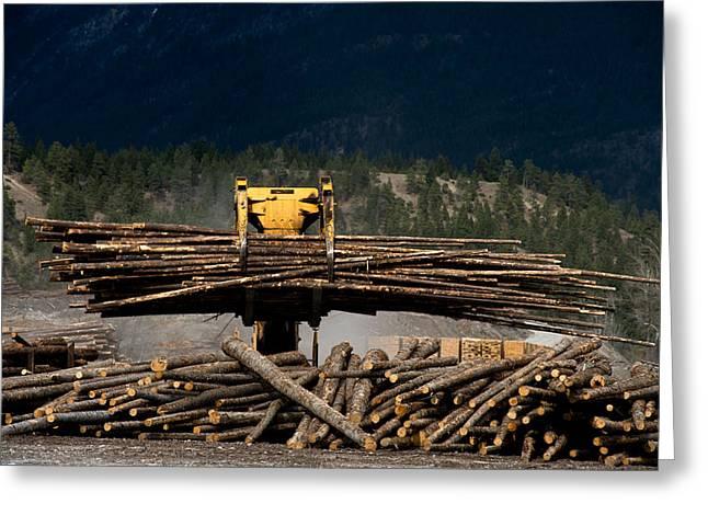 Logging Machine Greeting Card