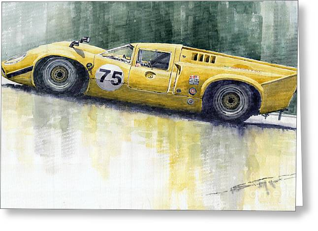 Lola T70 Greeting Card by Yuriy  Shevchuk