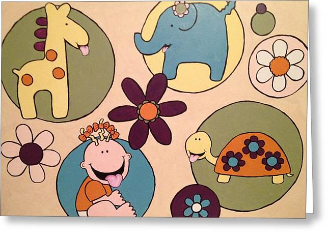 Greeting Card featuring the painting Lollipop Jungle Tongue by Sheep McTavish