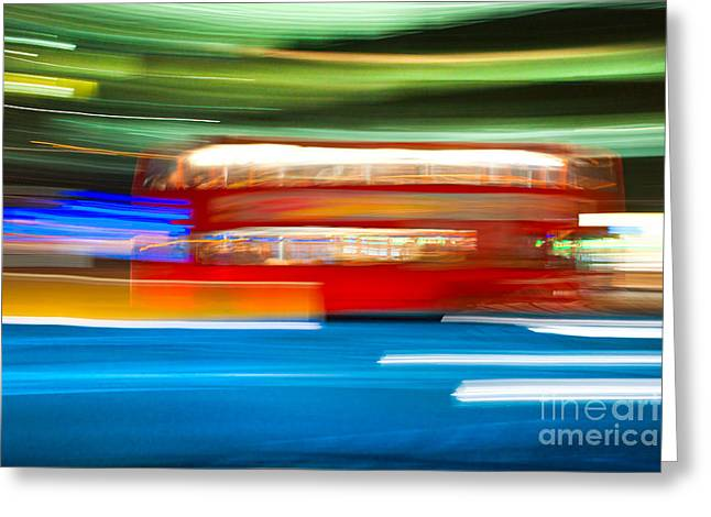Greeting Card featuring the photograph London Bus Motion by Luciano Mortula