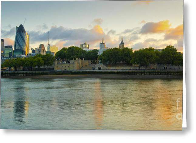 London Cityscape Sunrise Greeting Card by Donald Davis