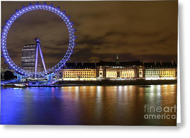 London Eye @ Night Greeting Card by Ronald Monong