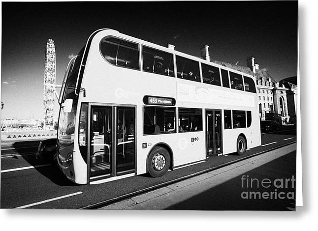 London Red Double Decker Bus Public Transport Crossing Westminster Bridge England United Kingdom  Greeting Card by Joe Fox