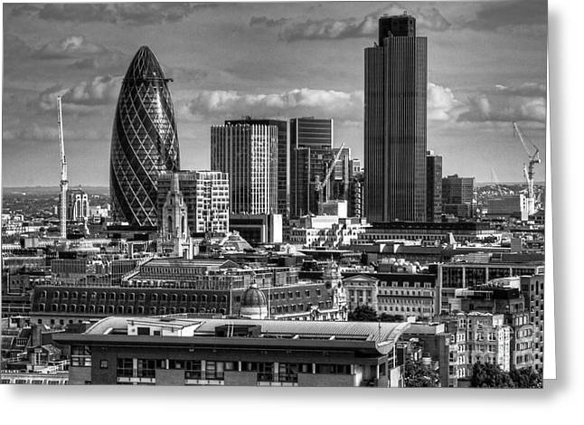 Greeting Card featuring the photograph London Skyline Bw I by Jack Torcello