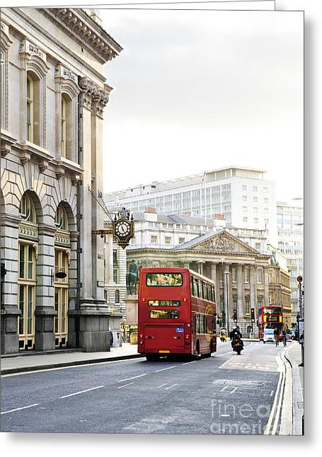 London Street With View Of Royal Exchange Building Greeting Card