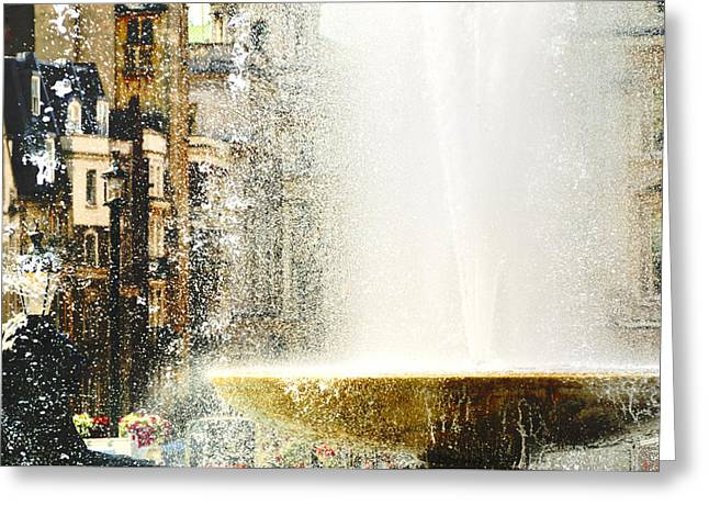 London Through The Fountain  Greeting Card by Vicki Jauron