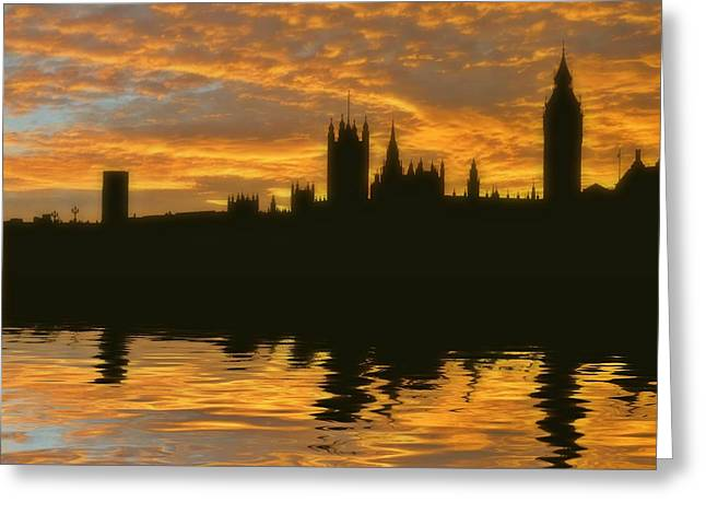 London's Burning Greeting Card by Sharon Lisa Clarke