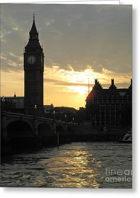 London's Golden Glow Greeting Card by Louise Peardon