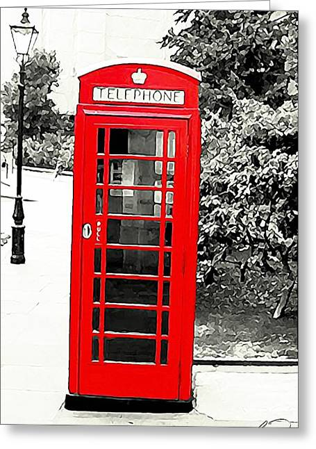 London's Red Booth Greeting Card by ABA Studio Designs