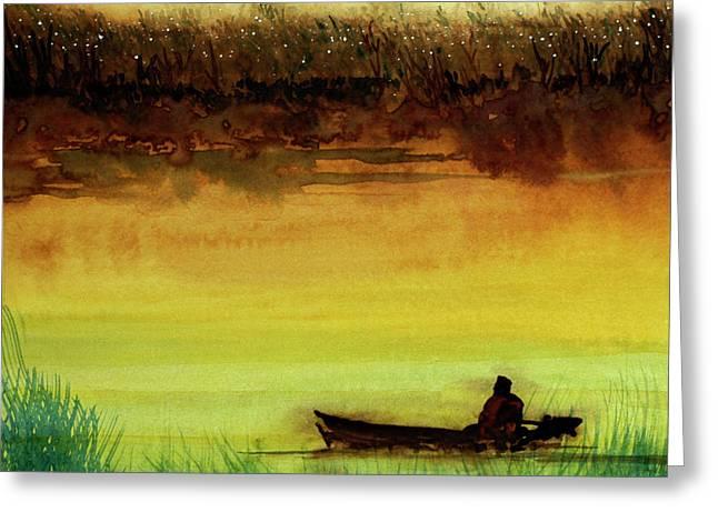 Lone Boatman Greeting Card