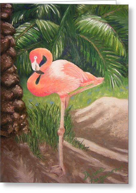 Greeting Card featuring the pastel Lone Flamingo by Diane Ferguson