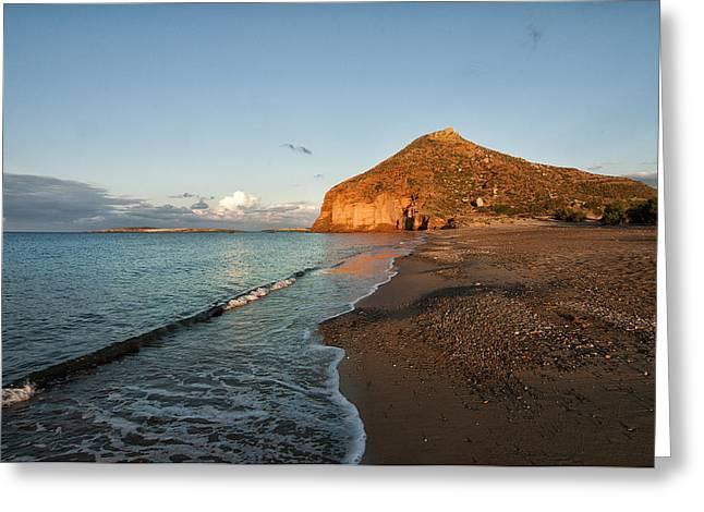 Lonely Beach Greeting Card by Manolis Tsantakis