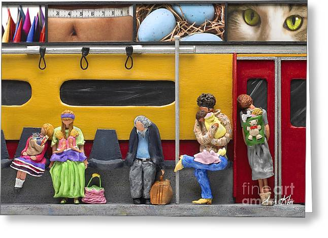 Greeting Card featuring the sculpture Lonely Travelers - Crop Of Original - To See Complete Artwork Click View All by Anne Klar