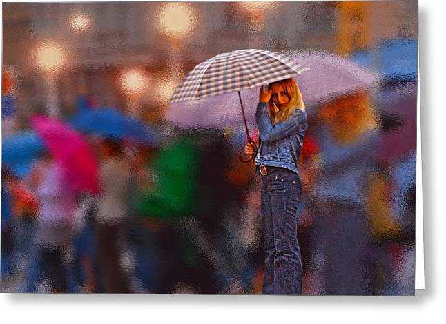 Lonelyredhead In The Rain Greeting Card by Don Wolf