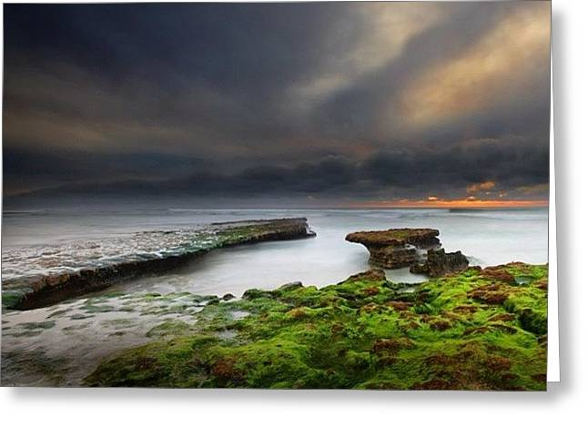 Long Exposure Of A Stormy Sunset At A Greeting Card by Larry Marshall