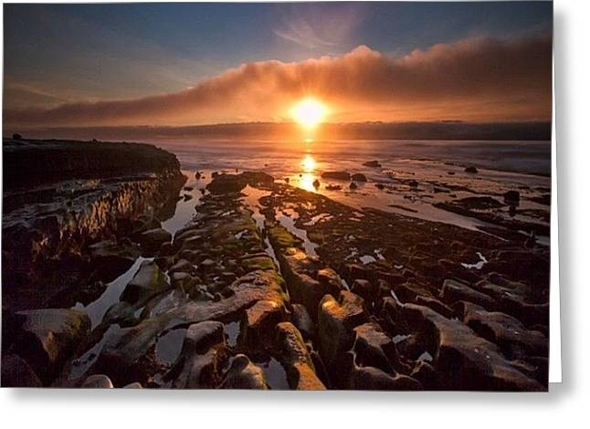Long Exposure Sunset In La Jolla Greeting Card