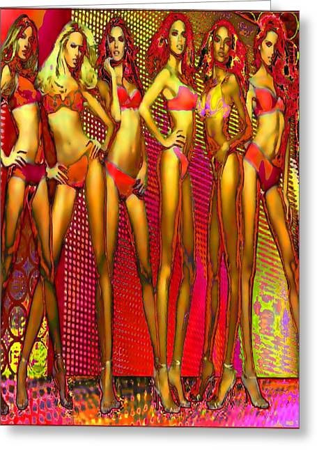 Long Legged Blonds And Redheads Greeting Card by Rod Saavedra-Ferrere