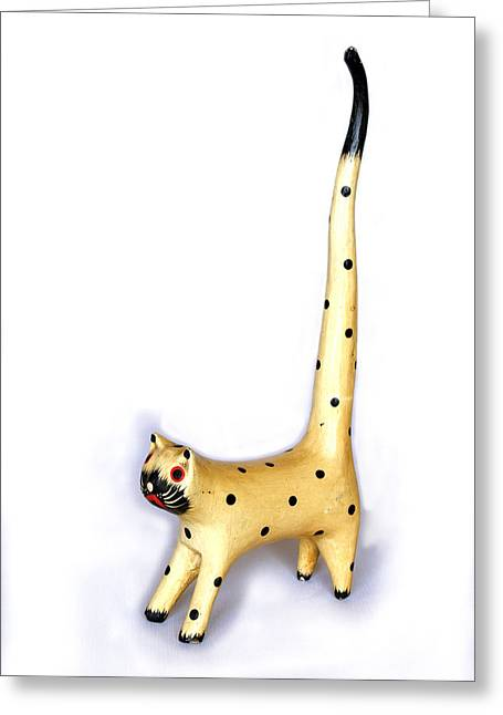Long Spotty Cat Greeting Card by Kantilal Patel