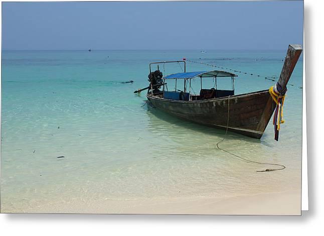 Long Tail Boat Greeting Card by Nawarat Namphon