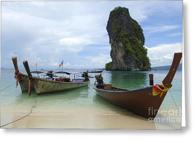 Long Tail Boats Thailand Greeting Card by Bob Christopher
